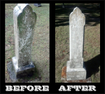 Tombstone care. Before and after